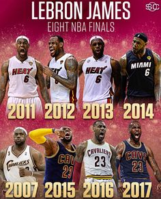 Eight NBA finals for LeBron James. First NBA player to lead two teams to 4 Finals. James Basketball, Miami Heat Basketball, Basketball Memes, Basketball Is Life, Basketball Pictures, Basketball Legends, Basketball Players, Basketball Scoreboard, Basketball Stuff