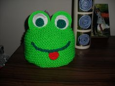 Knitted hat children hat gift hat baby hat frog hat by belzebul