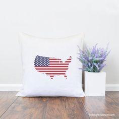 USA Flag Throw Pillow, Pillow Cover, Farmhouse Pillow, Home Decor, Gift, Housewarming Gift, Pillow