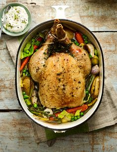 Scandi-style chicken recipe with braised spring veg and horseradish cream - this one-pot chicken recipe is packed with warming spring flavours and vegetables. Roast Chicken Dinner, Roast Chicken Recipes, Roast Dinner, Veg Recipes, Skinny Recipes, Dinner Recipes, Cooking Recipes, Healthy Recipes, One Pot Chicken