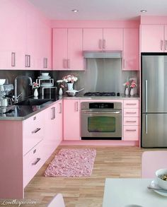 All Pink Kitchen girly pink home kitchen decorate ideas cupboards...LOVE...makes me think of barbies house...jas would kill me though lol