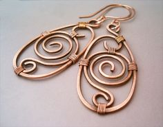 Wire Wrapped Earrings old-looking Copper by bleek70.deviantart.com on @deviantART