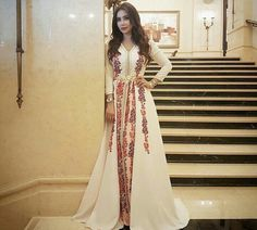 Moroccan Fashion Wear | White Caftan with Printed Pants | Beautiful Outfit