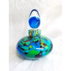 Vintage Murano Glass Perfume Bottle, Hand blown Blue Green Glass... (120 CAD) ❤ liked on Polyvore featuring home, bed & bath, bath, bath accessories, blue bathroom accessories, vintage bottles, glass stopper bottle, blue glass bathroom accessories and blue bottle