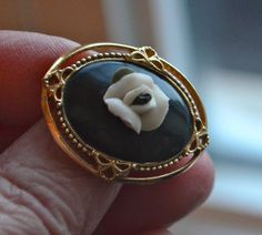 Vintage Victorian Style Gold and Black Cameo with by StudioVintage
