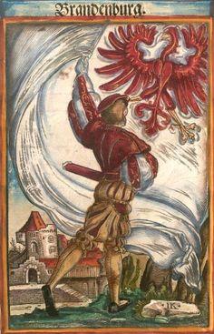 """Brandenburg [Brandenburg] (= Brandebourg) (f°9) -- Koebel, Jacob, """"Wapen des heyligen römischen Reichs teutscher Nation"""", Franckfurth am Main, 1545 [BSB Ms. Rar. 2155]"""