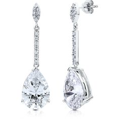 BERRICLE Sterling Silver CZ Fashion Dangle Drop Earrings ($71) ❤ liked on Polyvore featuring jewelry, earrings, accessories, clear, dangle earrings, sterling silver, women's accessories, long dangle earrings, clear earrings and cubic zirconia earrings