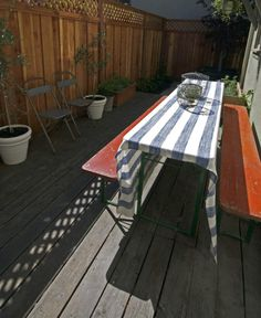 This skinny picnic table is the type used in German bier gartens -- great when you're working with a narrow space.