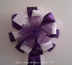 Plum and White Wedding Pew Bow, Wreath Bow, Window decoration, Arch Bow, Column decoration - Purchase or Rental