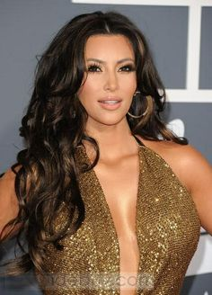 100%Human Hair Kim Kardashian Hairstyle Lace Wig about 24inches Body Wave