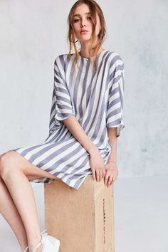 Silence + Noise Boat-Neck Cocoon Mini Dress - Urban Outfitters