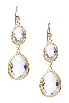18K Gold Clad Textured Bezel Rock Crystal Double Drop Earrings on HauteLook
