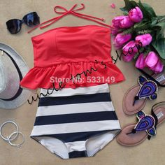 cute pinkish orangish stripe HIGH WAISTED Bikini Set RETRO Swimsuits Suits Swimwear Vintage Bandeau bathing suit crop top-in Bikinis Set from Apparel & Accessories on Aliexpress.com | Alibaba Group