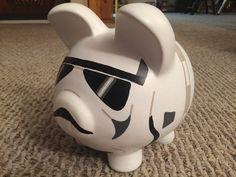 Stormtrooper Star Wars Hand Painted Ceramic Piggy by KaleyCrafts