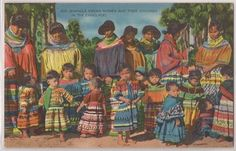 "1940s Florida Everglades Postcard ""Seminole Indian Women Children"" Linen | eBay"