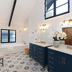 Encaustic porcelain tiles is an ever-growing popular choice for homes and spaces thanks to its beautiful color and design. Blue Bathroom Vanity, Modern Bathroom, Small Bathroom, Master Bathroom, Bathroom Ideas, Black And White Bathroom Floor, Timeless Bathroom, Blue Vanity, Industrial Bathroom