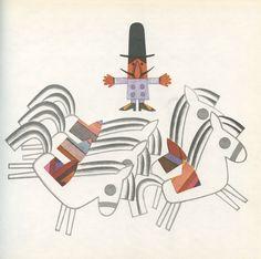 Illustrations by Květa Pacovská for 'Karlička a bílý koník' by Branka Jurcová (Brno, 1968)