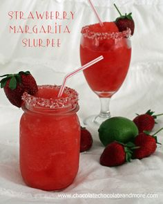 Strawberry Margarita Slurpees for Cinco de Mayo-with or without alcohol, theyre tasty and fun to drink