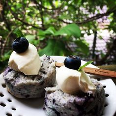 {ブルーベリーが好き} enjoy teatime with Blueberry creamcheese scone with a cup of blackberry tea #ブルーベリークリームチーズスコーンです。(^^)