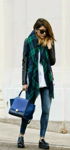 Oversized Tartan Scarf and Leather Moto