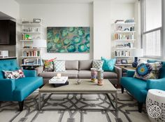 """A Bold, Rental-Friendly Redesign in Chicago - Pro Tip from Bonnie: """"Developing an eye for mixing patterns is a process of trial and error. Be willing to experiment with bold patterns that aren't as safe. Try starting with a neutral foundation and choosing a few colors that work well together. Then use each color a couple of times throughout the space"""