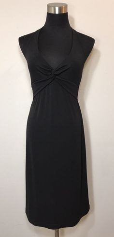 3100319935f92 BCBG MAX AZRIA Halter Twist Front Black Dress LBD Cocktail Evening USA Size  M | eBay
