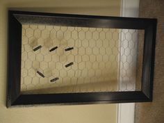 Pinterest Party-Darcy's contribution----Chicken wire on a frame to pin list or pictures or hang jewelry