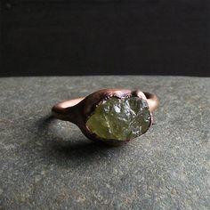 Garnet Ring Raw Crystal Ring Copper Gemstone by MidwestAlchemy