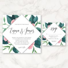 """This listing is for a PRINTABLE 5""""x5"""" invitation and a 3""""x3"""" RSVP card. You will receive a digital copy in the form of a PDF or JPEG to be printed at"""