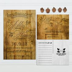 Carved Wood Look Wedding Invitations, Budget Invitation, Invitation Set, Vineyard Wedding SAMPLE PACK by InvitingMoments on Etsy https://www.etsy.com/listing/193401274/carved-wood-look-wedding-invitations