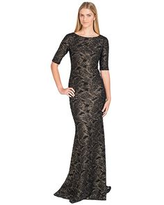 Badgley Mischka EG1683 Black-Gold Knit Short-Sleeve Gown, now available at the official website. Free shipping, exchanges, and returns.