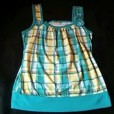 Women's multicolor top M.k.M designs multi-colored turquoise and yellow top size medium worn in good condition! Tops Tank Tops