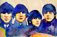 The Beatles, print from original watercolor painting, Beatles For Sale ART, custom watercolor portrait painting, free shipping