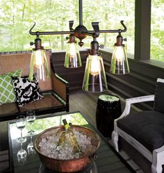 Bauer Chandelier | Rejuvenation - with opal narrow cone shade instead of glass $670+$360 for shades = $1,030