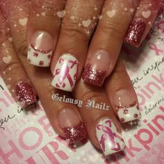I'd love mine to be all glittered, nd my ring to have the ribbons French Manicure Designs, Acrylic Nail Designs, Nail Art Designs, Creative Nail Designs, Creative Nails, Matte Nails, Gel Nails, Breast Cancer Nails, October Nails