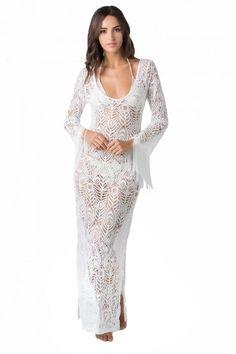Шикарное платье пестрые облака вязаное спицами. Нарядное белое платье спицами со…