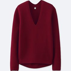 WOMEN COCOON V-NECK SWEATER, RED, large