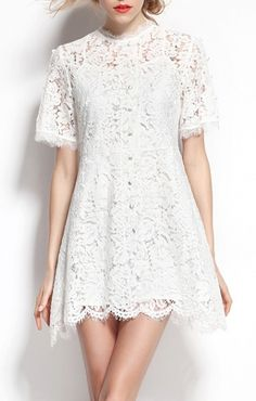 A-line Wave Hem Short Sleeves White Lace Dress
