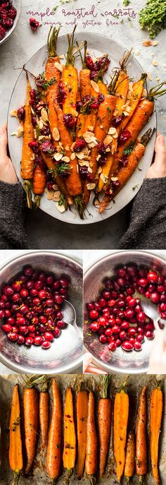 Maple roasted carrots and cranberries Ahorn gebratene Karotten und Preiselbeeren A simple recipe for a creamy vegan butternut squas. Grilled Carrots, Roasted Carrots, Carrots Healthy, Healthy Dinner Recipes, Vegetarian Recipes, Cooking Recipes, Beef Recipes, Easy Recipes, Vegetarian Christmas Recipes