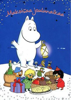 """2010 Christmas Card RR 65 from (Finland) """"Sweet Christmas Time"""" Moomin Cartoon, Bujo, Childhood Stories, Tove Jansson, Old Christmas, Xmas, Christmas Cartoons, Cute Characters, Cartoon Characters"""