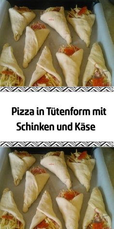 Pizza in a bag with ham and cheese- Pizza in Tütenform mit Schinken und Käse A great idea to host the guests at a birthday party or just as a snack for kids. Classic pizza circles fold into bags and a delicious dinner is on the table. Snacks Pizza, Snacks Für Party, Easy Casserole Recipes, Quick Recipes, Cheese Recipes, Pizza Recipes, Cheese Snacks, Party Finger Foods, Ham And Cheese