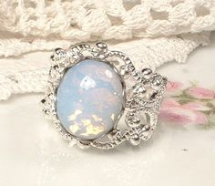 Opal Ring Silver Filigree Ring Vintage White by AmoreTreasure.. jaw dropping
