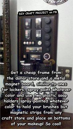 DIY makeup organizer! Such a smart idea :)