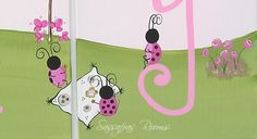 Ladybugs At Play Custom Name Wall Letters (Pink & Black)