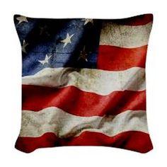 Dark Grungy Artistic American Flag Woven Throw Pil