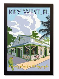 Green Parrot Bar ~ Just Looking Gallery ~ Steve Thomas ~ Key West Vintage Florida, Old Florida, Florida Travel, Key West Florida, Florida Keys, Steve Thomas, Poster Retro, Key West Style, West Art