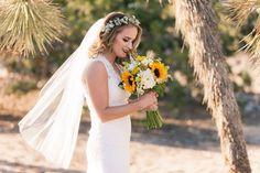 Sunflower wildflower desert wedding photo: Brandon Beechler Photography Flowers: Kristin Smith Floral Concepts