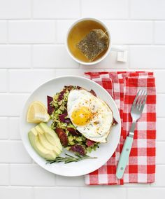 Brussels sprout and purple potato hash