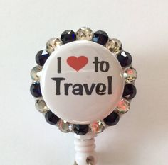 Love to Travel Decorative Badge Holder with Charm/Beads by Lindasbadgeboutique on Etsy