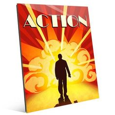 """Click Wall Art 'Action Film' Graphic Art on Plaque Size: 14"""" H x 11"""" W x 1"""" D"""